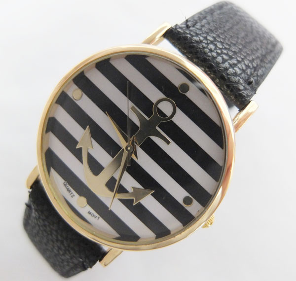 """ahoy"" sailor anchor print watch (4 colors available) – glamzelle"