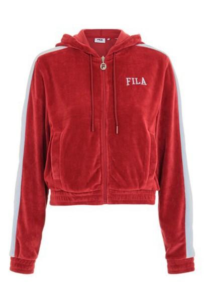 Topshop hoody zip red sweater