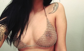top metal bra brallete metallic