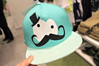 hat baby blue light blue cute moustache white black cuter girly girl style vintage styles pastel idea ideas