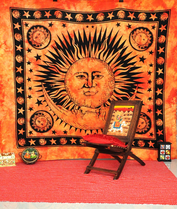 Celestial sun moon stars tie dye tapestry, hippie hippy wall hanging, indian tapestry, sun