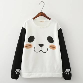 sweater panda black and white cute kawaii accessory