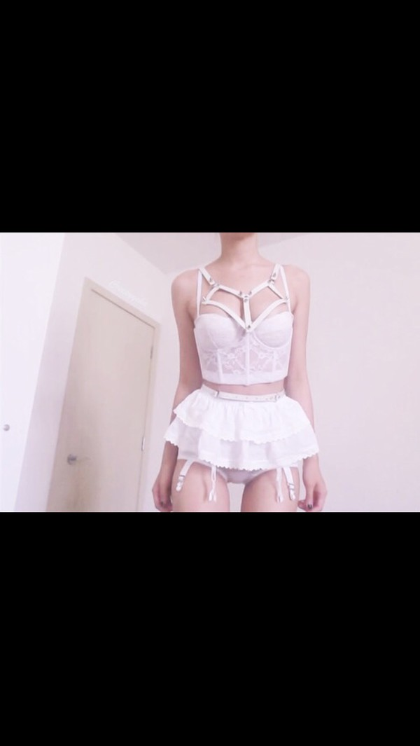 underwear pastel pink caged bralette mini skirt