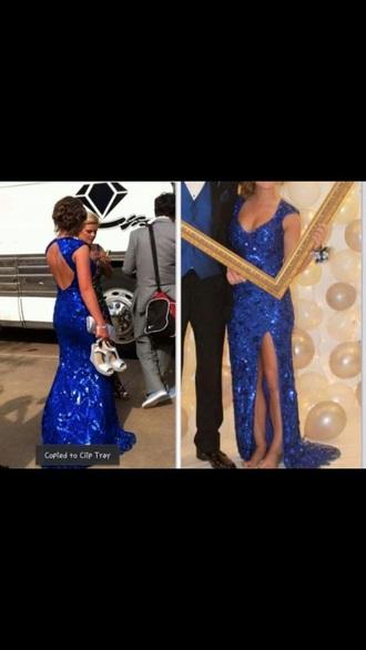 dress royal blue leg slit