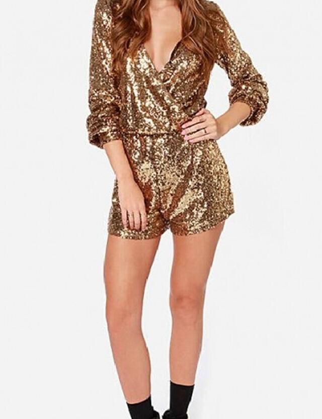 79e85247ec0b Aliexpress.com Buy Nextshe Fashion Solid Deep V Neck Gold Sequin Romper  Rompers Long Sleeve
