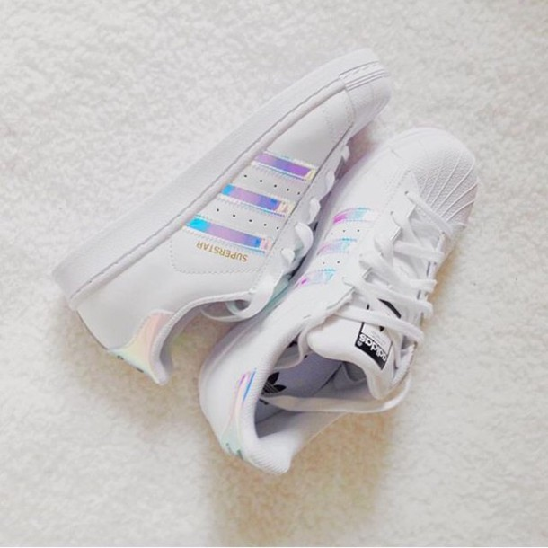 Shoes: adidas, holo, holographic, adidas superstars, superstar, white ...
