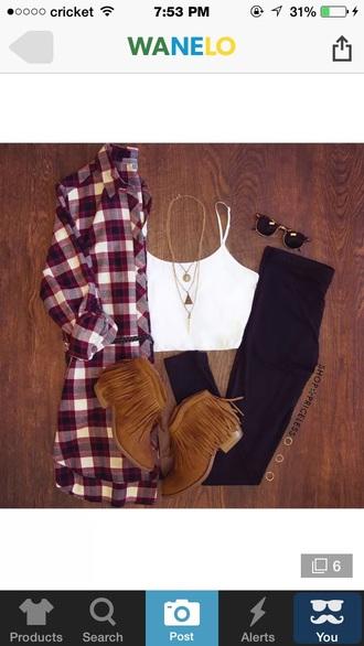 shirt crop tops white crop tops flannel fringe shoes