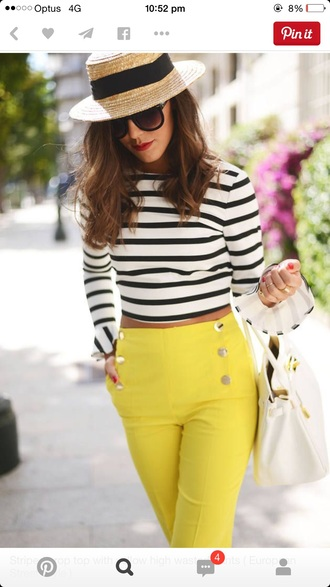 top yellow high waisted pants black and white shirt