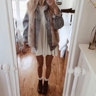 dress white dress blue jean jacket jacket faux fur jacket black boots white socks