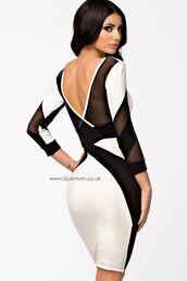 creme and black,cream and black,mesh inserts,bodycon dress,strap dress,ustrendy,v back dress