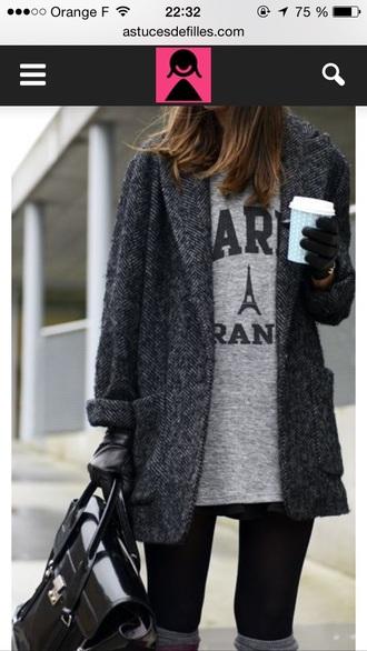 coat gris chiné oversize boyfriend manteau long manteau long femme gris chiné hiver winter coat grey coat grey