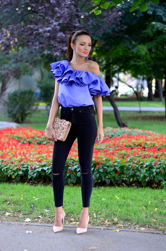 my silk fairytale blogger top jeans shoes bag jewels