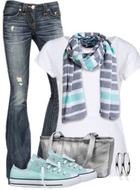 jeans cardigan scarf