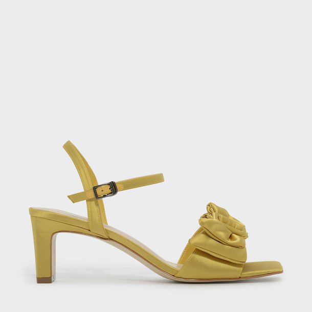 heel open sandals yellow shoes