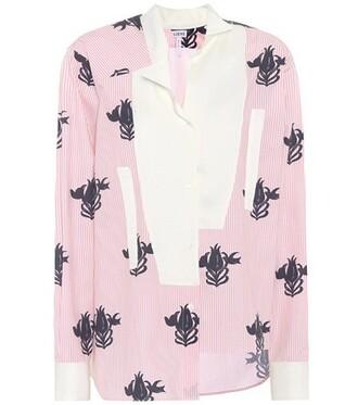 shirt oversized cotton pink top
