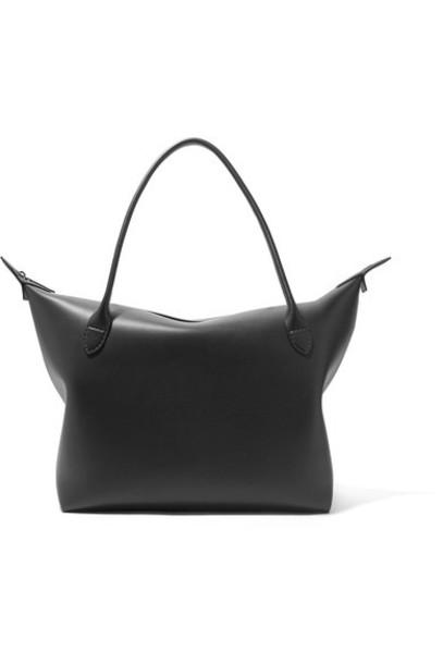 The Row satchel leather black bag