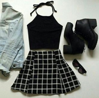 dress black shoes black plaid skirt black top