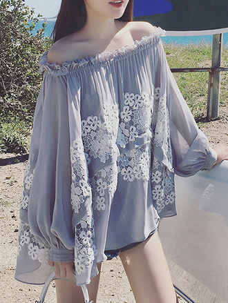 dress grey floral flowers off the shoulder flowy summer long sleeves fashion style zaful