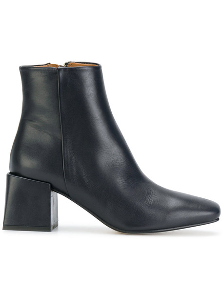 heel chunky heel women ankle boots leather blue shoes