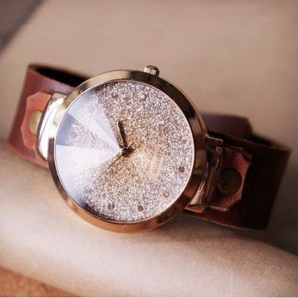 jewels watch watch glitter bling gold brown cute vintage