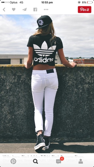 t-shirt black and white adidas adidas jacket jeans