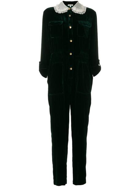 Manoush overalls long women silk green jumpsuit