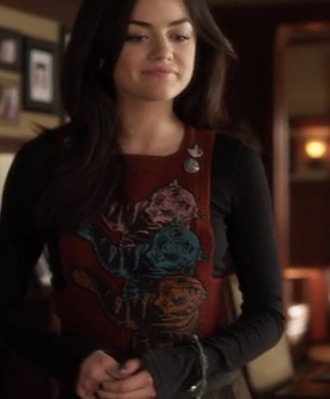 top aria tiger red vest shirt knit three aria montgomery pretty little liars pll aria