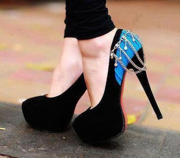 shoes high heels blue high heels heels chain