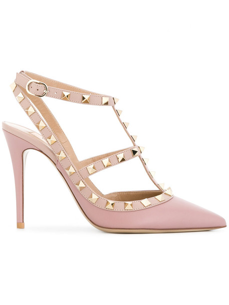 Valentino women pumps leather purple pink shoes