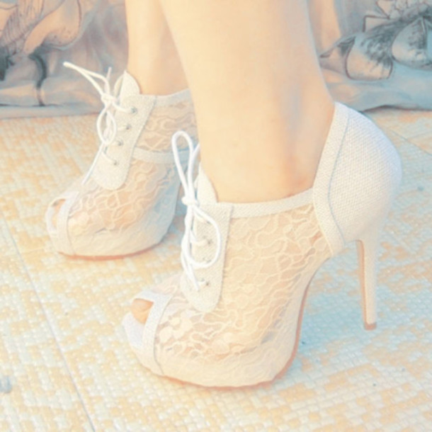 2c9a99bfed3a7 Lace Heels: White Heels Lace