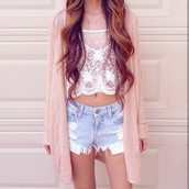 shorts,ripped shorts,sweater,blouse,jacket,lovely,pink,shirt,sweet,withe,spitze,white lace crop top,cardigan,oversized cardigan,peach blouse,lace,sheer,lace white shirt,t-shirt,crop,crazy swirls,see through,top,off-white,white,white lace,denim,polka dots,white lace top,sheer top,denim shorts,short shorts,High waisted shorts,outfit