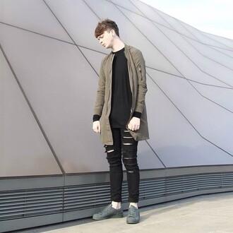 jacket maniere de voir longline bomber khaki bomber jacket coat