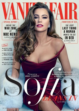dress gown editorial burgundy prom dress sofia vergara off the shoulder