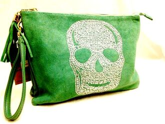 bag skull clutch rhinestones faux suede tassle green blue cream handbag gift ideas boutique essex online