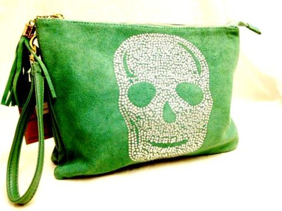 blue faux suede bag skull clutch rhinestone tassle green cream handbag gift boutique essex uk online