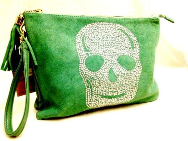 bag skull clutch rhinestones faux suede tassle green blue cream handbag gift ideas boutique essex online