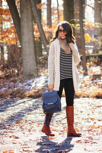faux fur sunglasses brown leather boots blogger refined couture cardigan leather backpack