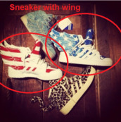 shoes,wing,wings,stars,blue shoes,red shoes,sneakers,american flag,white,red,blue