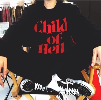 sweater black sweater supreme child of hell