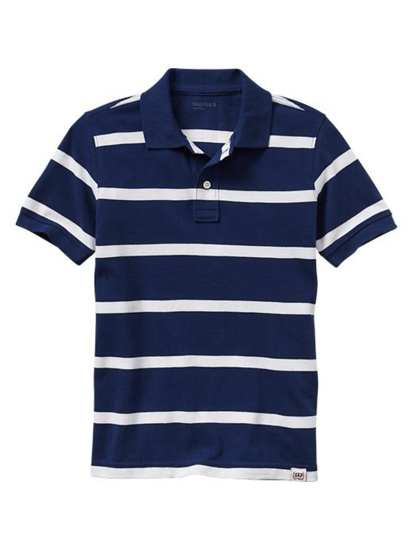 gap stripe pique polo basic blue boys short sleeved 964114000