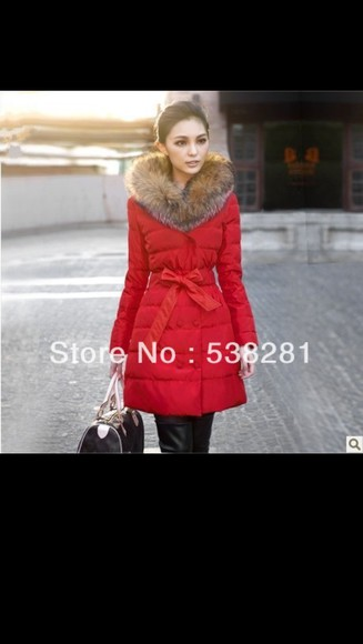 jacket red jacket long jacket faux fur jacket
