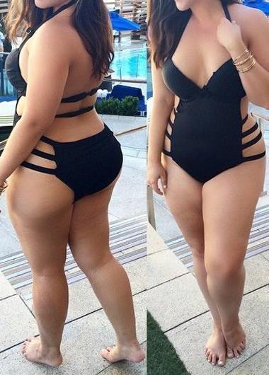 eb9074510b064 Black Plus Size Women Tie Up One-piece Swimming Suit Swimwear on Storenvy