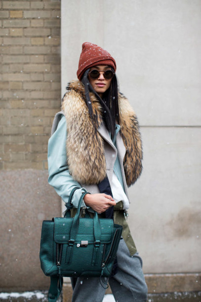 bag fur beanie streetstyle fashion week 2016 NY Fashion Week 2016
