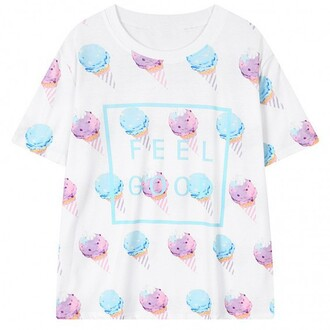 dress fashion style t-shirt ice cream cool summer pastel white trendy boogzel
