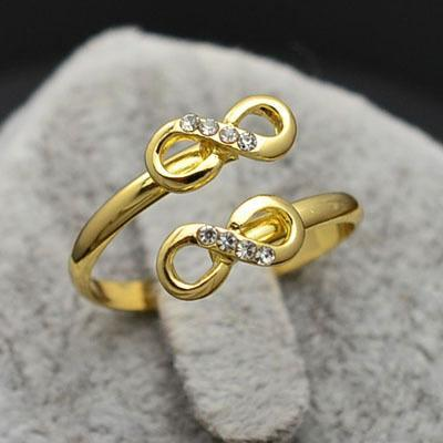 New Fashion Jewelry 18K Rose Gold Plated Rhinestone Infinity Finger Ring Nice Gift For Women Party A on Luulla