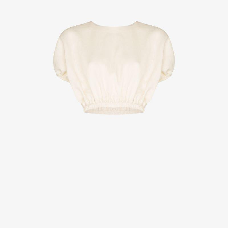 Matteau Linen pouf sleeve crop top