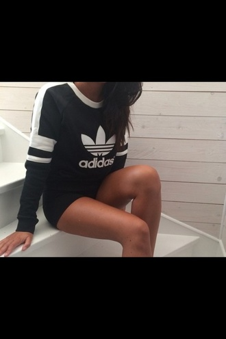 sweater black sweater jumper adidas clothes style fashion