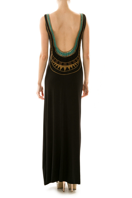 Tribal Print Embroidered Open Back Maxi Dress