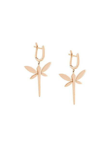 Anapsara rose gold rose women dragonfly earrings gold grey metallic jewels