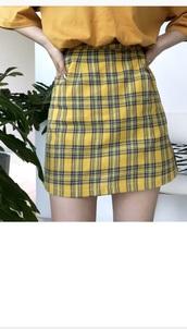 skirt,plaid,girly,girl,girly wishlist,yellow,plaid skirt